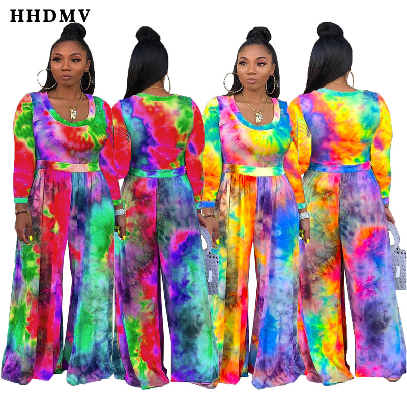 HHDMV TH3369 holiday pastoral style jumpsuits long sleeve round neck printed loose comfortable 2 color jumpsuits long pants