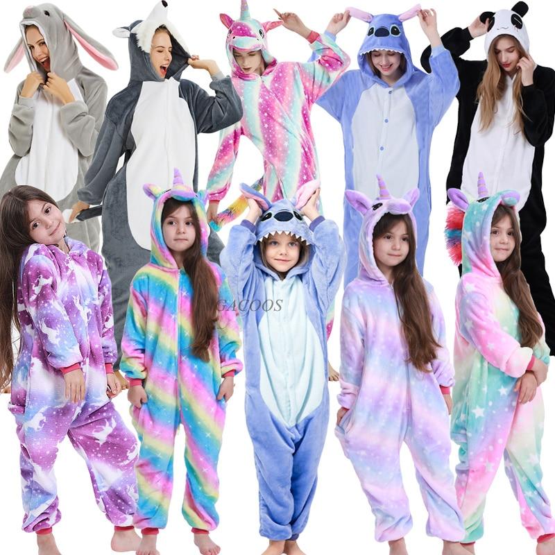 Kigurumi Children Warm Winter Sleepwear Kids Unicorn Panda Pajama Baby Girls Boys Stitch Pajamas Onesies Hoodied Sleeper Clothes