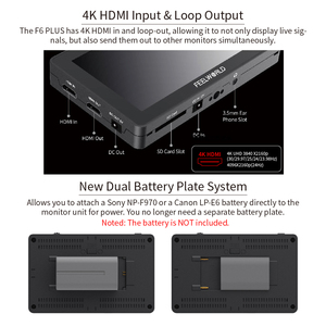 Image 5 - Монитор FEELWORLD F6 PLUS 4K, 5,5 дюйма, для камеры, цифровой зеркальной камеры, 3D, LUT, сенсорный экран IPS FHD 1920x1080, поддержка видеофокуса, поддержка HDMI