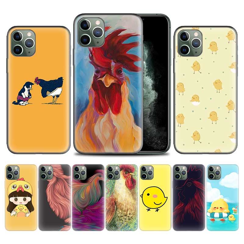 Animal <font><b>chicken</b></font> <font><b>Case</b></font> for <font><b>Apple</b></font> <font><b>iphone</b></font> 11 Pro XS Max XR X 7 8 <font><b>6</b></font> 6S Plus 5 5S SE 5C Soft TPU Phone Cover Coque image