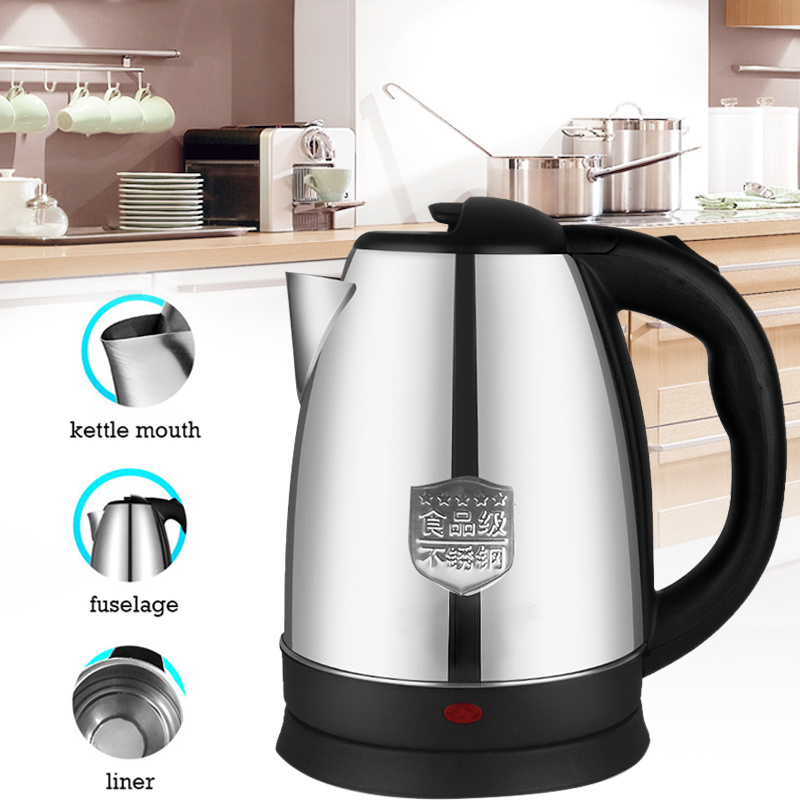 Stainless Steel Water Kettle 2L Office Appliances Boiler Heating Electric Boiling Pot Practical Kitchen Keep Warm Home Travel
