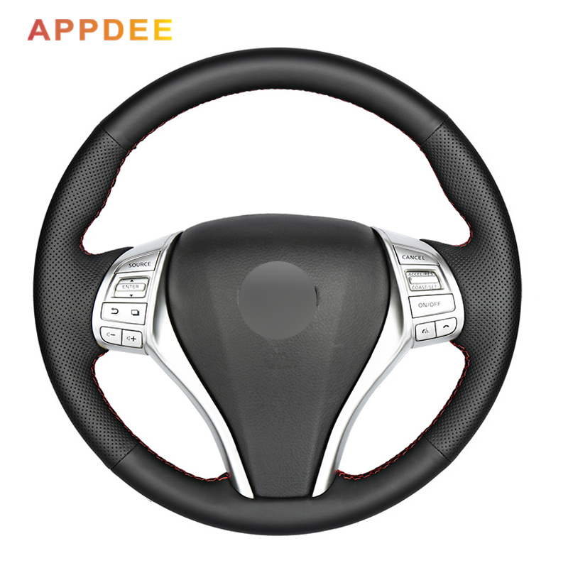 Black Artificial Leather Car Steering Wheel Cover for Nissan Teana Altima 2013-2016 X-Trail QASHQAI Rogue 2014-2016 Sentra Tiida