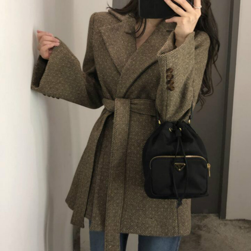 Women Autumn Winter Long Wool Blazer Coat Jacket Bandage Long Sleeve British Style Thick Woolen Overcoat Outer Wear Loose