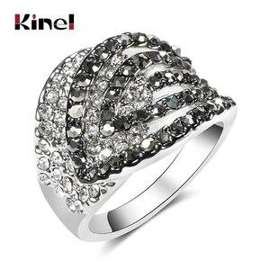 Kinel роскошные серые большие кольца с кристаллами для женщин, тибетские серебряные геометрические вечерние кольца с цирконием, свадебные ук...