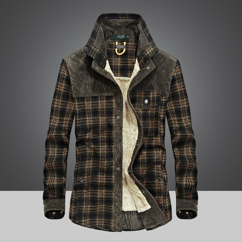 Brand Spring Winter Thick Plaid Shirt Men Long Sleeve Turn-down Collar Cotton Casual Wool Liner Warm Mens Shirts Chemise Homme Multan