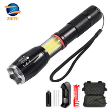 ZHIYU led glare flashlight multifunctional t6+COB telescopic zoom safety hammer mini wild camping cob magnet work lamp Outdoor
