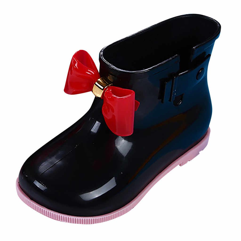 Su geçirmez çocuk lastik çizmeler jöle yumuşak bebek ayakkabı kış sıcak bebek çocuk kürk yağmur botu yay ile kız çocuk yağmur ayakkabıları sıcak