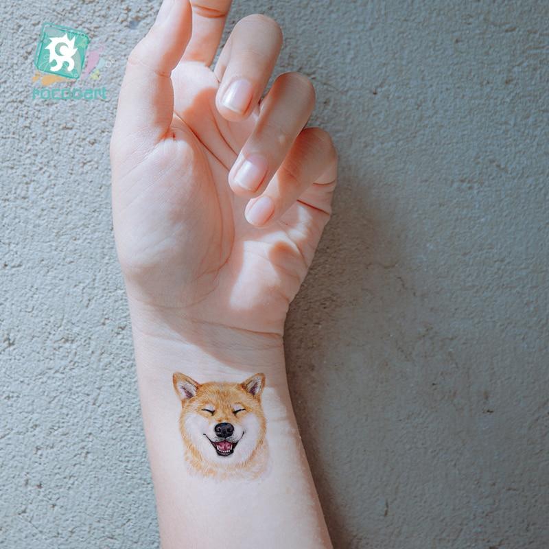 Rocooart Dog Temporary Tattoo Sticker Watercolor Animals Tattoos Body Art Child Girls Hand Fake Watermark Tattoo10.5x6cm