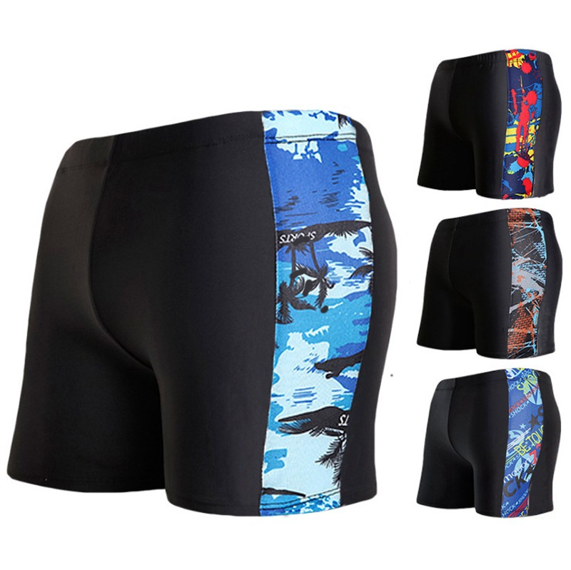 Boxer Swimming Trunks Men's Qmilch Cool Mixed Colors Swimming Trunks Men High-waisted Swimming Pool Swimming Trunks