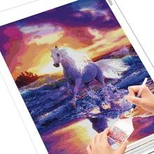 Diamond Painting Horse 5D DIY Animal Art Mural Home Decor Gift Full Square/Round Mosaic Embroidery Rhinestone Cross Stitch Kits