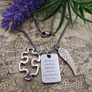 stainless steel chain necklace bless those who see life... Puzzle Piece wing Autism Awareness Necklace mother friend birthday(China)