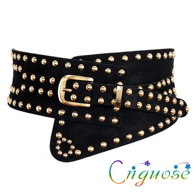 2019 Autumn And Winter Black Female Rivets Waistband Waist European And American Fashion Retro Wide Belt Wide Girdle Womens