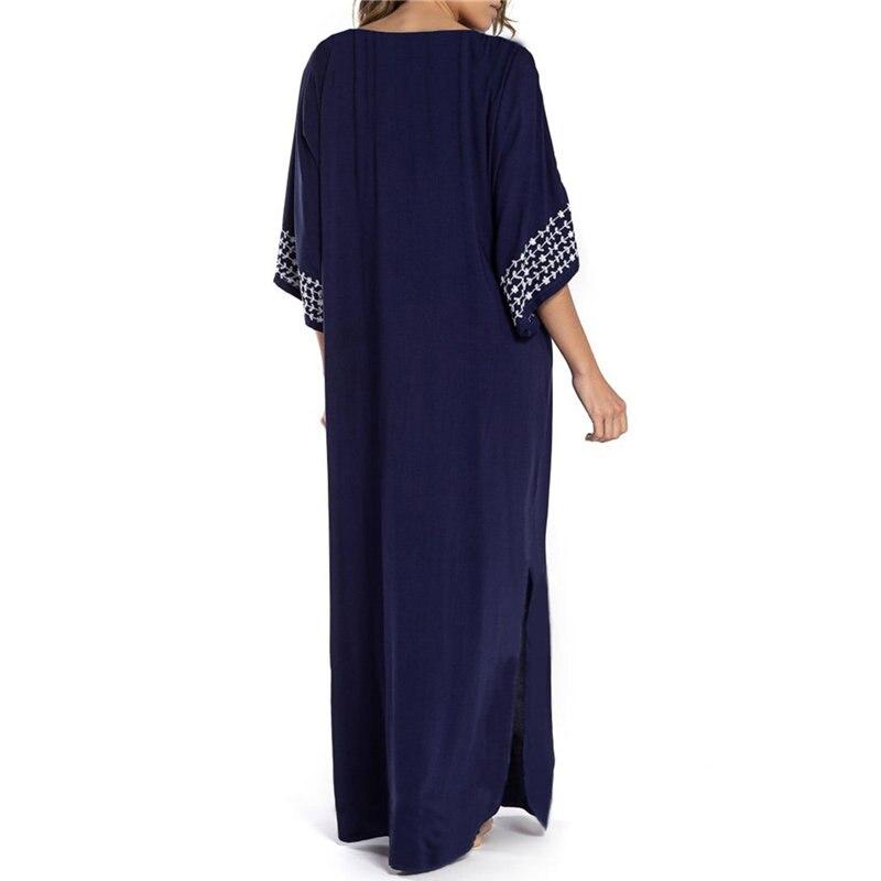2019 Indie Folk Lace Up V-Neck Batwing Sleeve Summer Beach Dress Cotton Tunic Women Beachwear kaftan Maxi Dress Robe Sarong N775