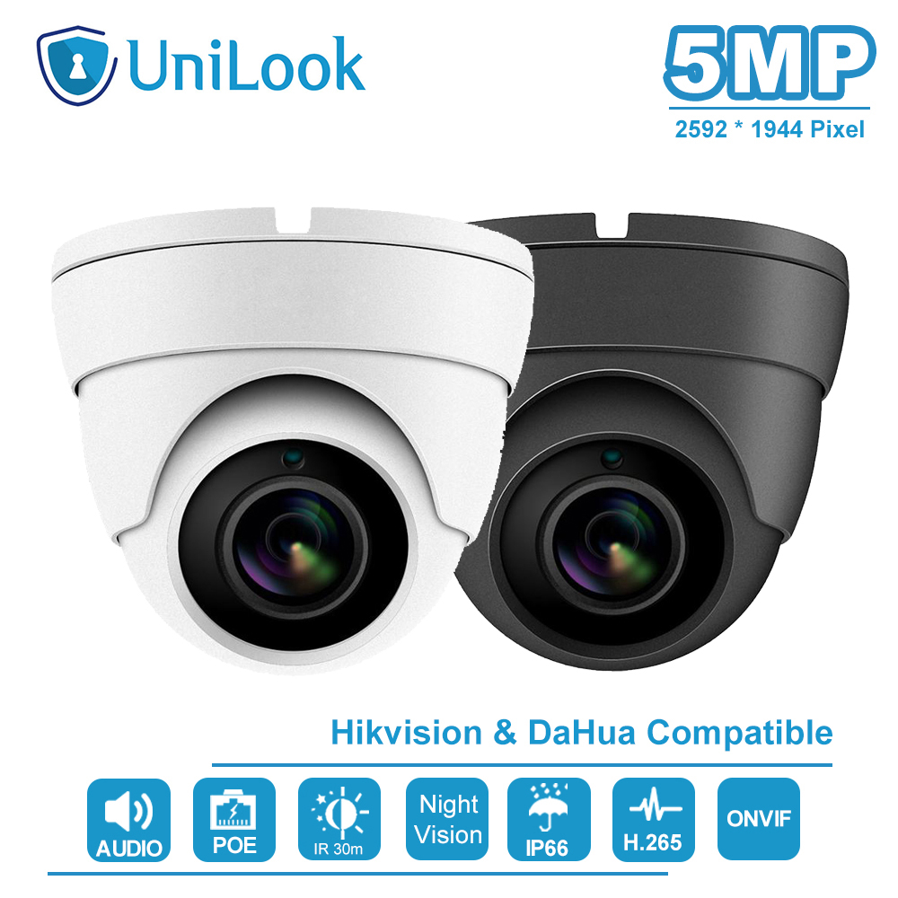UniLook (Hikvision Compatible) 5MP Dome POE IP Camera With Audio Home/Outdoor Security Night Vision IR 30m IP66 ONVIF H.265