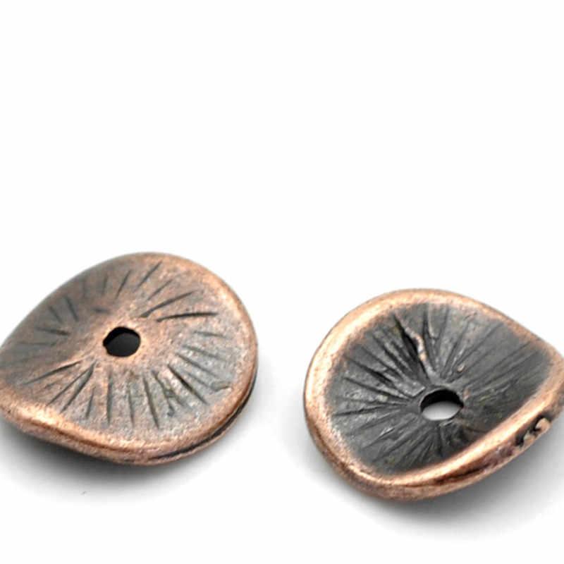 DoreenBeads โลหะผสมสังกะสีหยักลูกปัดแผ่นทองแดงโบราณสี DIY เครื่องประดับประมาณ 10 มม.x 9 มม.,รู: ประมาณ 1mm, 20 PCs
