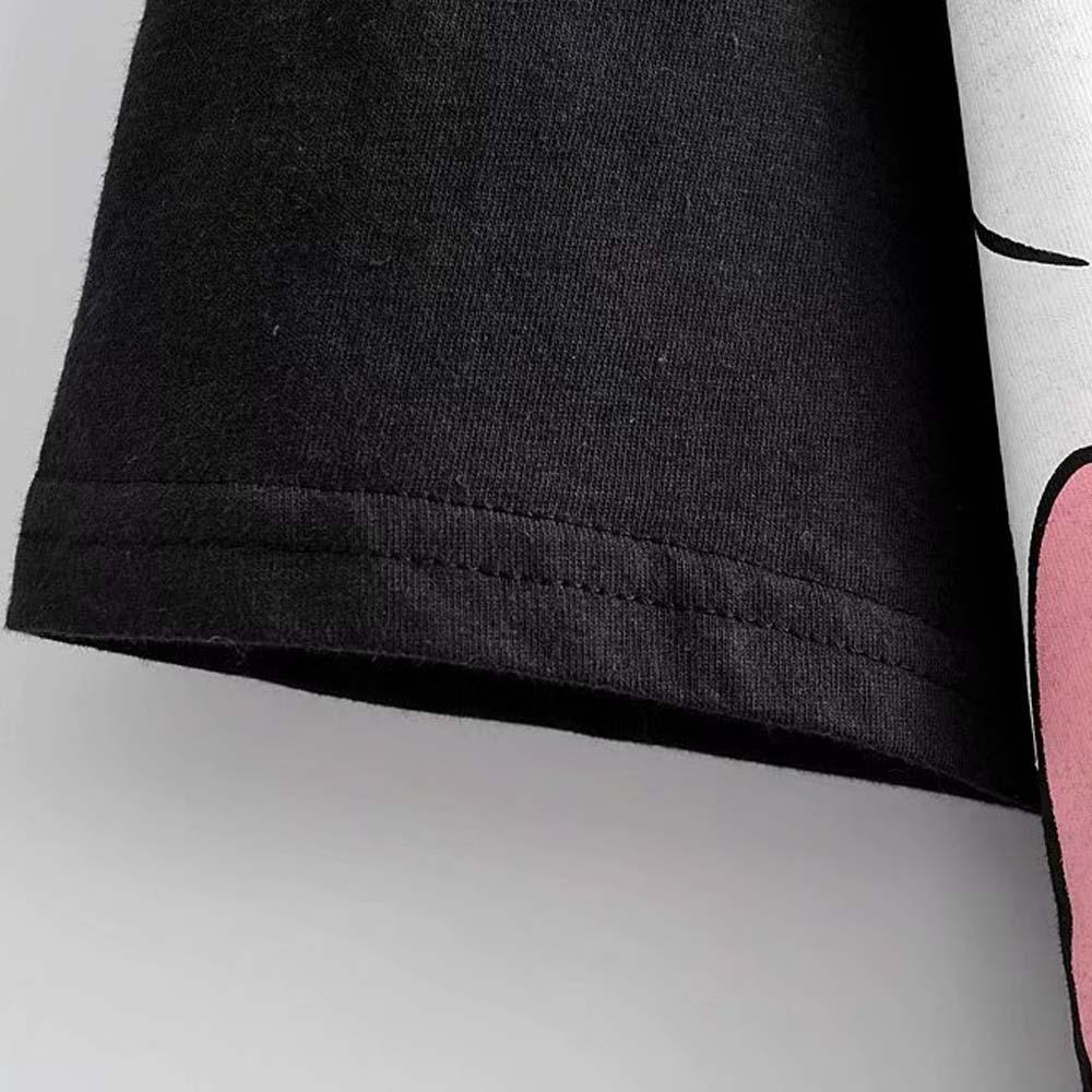 Image 5 - ديزني لطيف ميكي ميني ماوس الكلب الكرتون طباعة قميص أسود س الرقبة البلوز قصيرة الأكمام عادية الحلو المرأة فضفاض المحملة القممتي شيرتاتملابس نسائية -