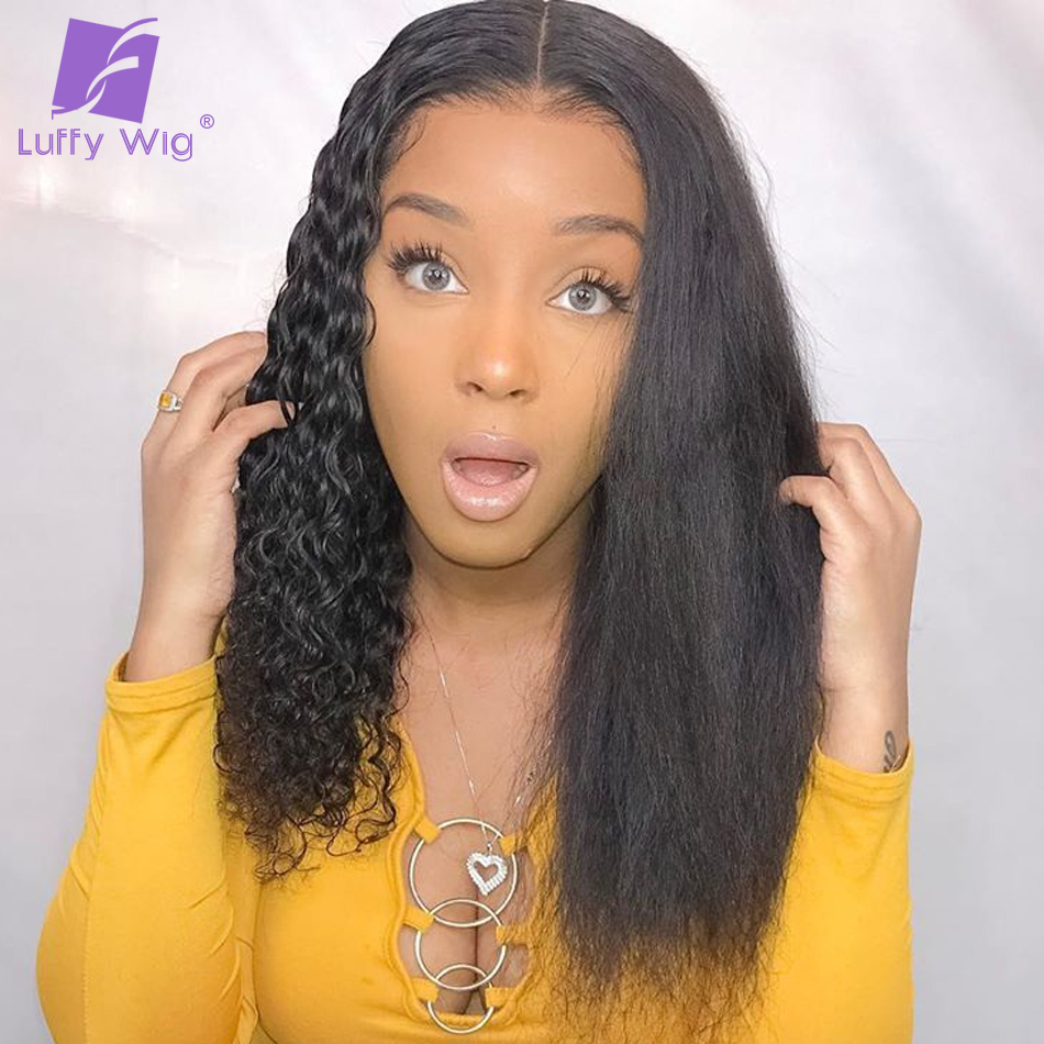 Kinky Straight And Curly Half Full Lace Human Hair Wigs Remy Brazilian Lace Front Wig Pre Plucked 13x6 Lace Frontal LUFFY