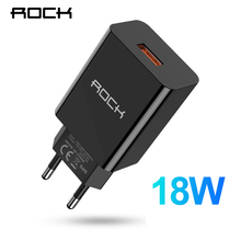 ROCK 18W USB Charger Mobile Phone Fast charging quick charge QC 3.0 Travel Wall Adapter EU Plug For iPhone Samsung Xiaomi NOTE 7 цены