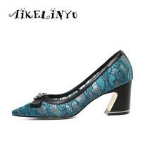 AIKELINYU Woman Blue Pump Luxury Square Heel Shoe Fashion Lace Diamond Decoration Elegant Party Office Lady Shoes