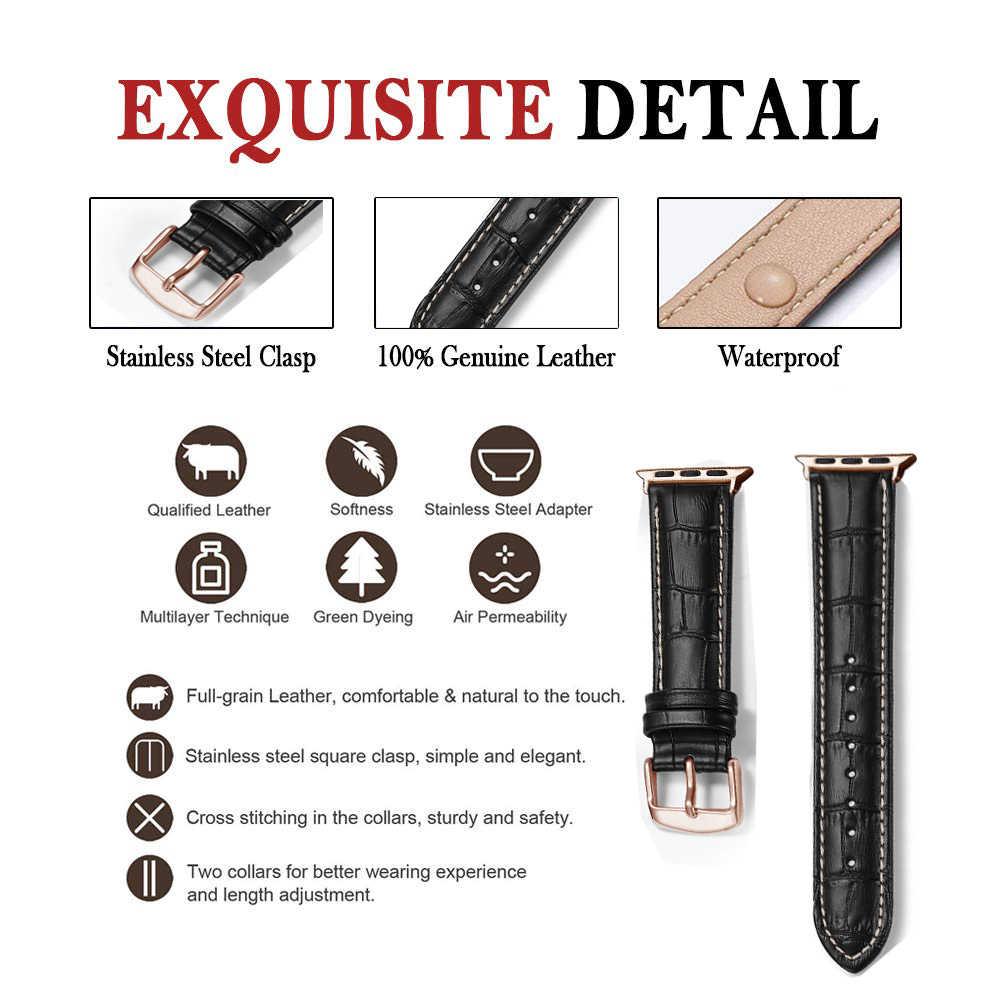 Eastar sıcak satış deri Watch Band Apple İzle için 5 bant serisi 3/2/1 spor deri bilezik 42 mm 38 mm kayış için iwatch bileklik
