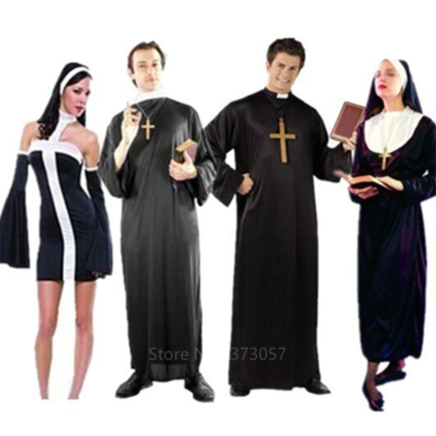 Missionary Cosplay Costumes For Adult Halloween Carnival Priest Nun Long Robes Religious Pious Catholic Church Vintage Clothing