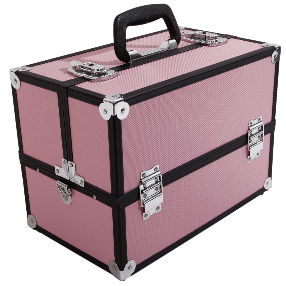 Multifunctional Large Aluminum Alloy Makeup Train Case Travel Cosmetic Bag Organizer Jewelry Box Organizer With Carry Handle