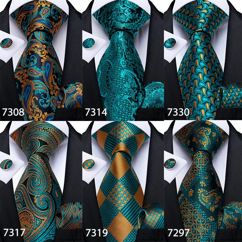 Gift Men Tie Teal Green Paisley Plaid Silk Wedding Tie For Men DiBanGu Design Hanky Cufflink Quality Men Tie Set Dropshipping