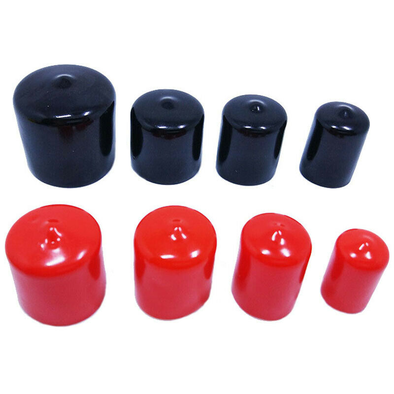20PCS Black Vinyl Rubber Round End Cap PVC Plastic Cable Wire Waterproof Cover Steel Pole Tube Pipe Thread Protection Caps