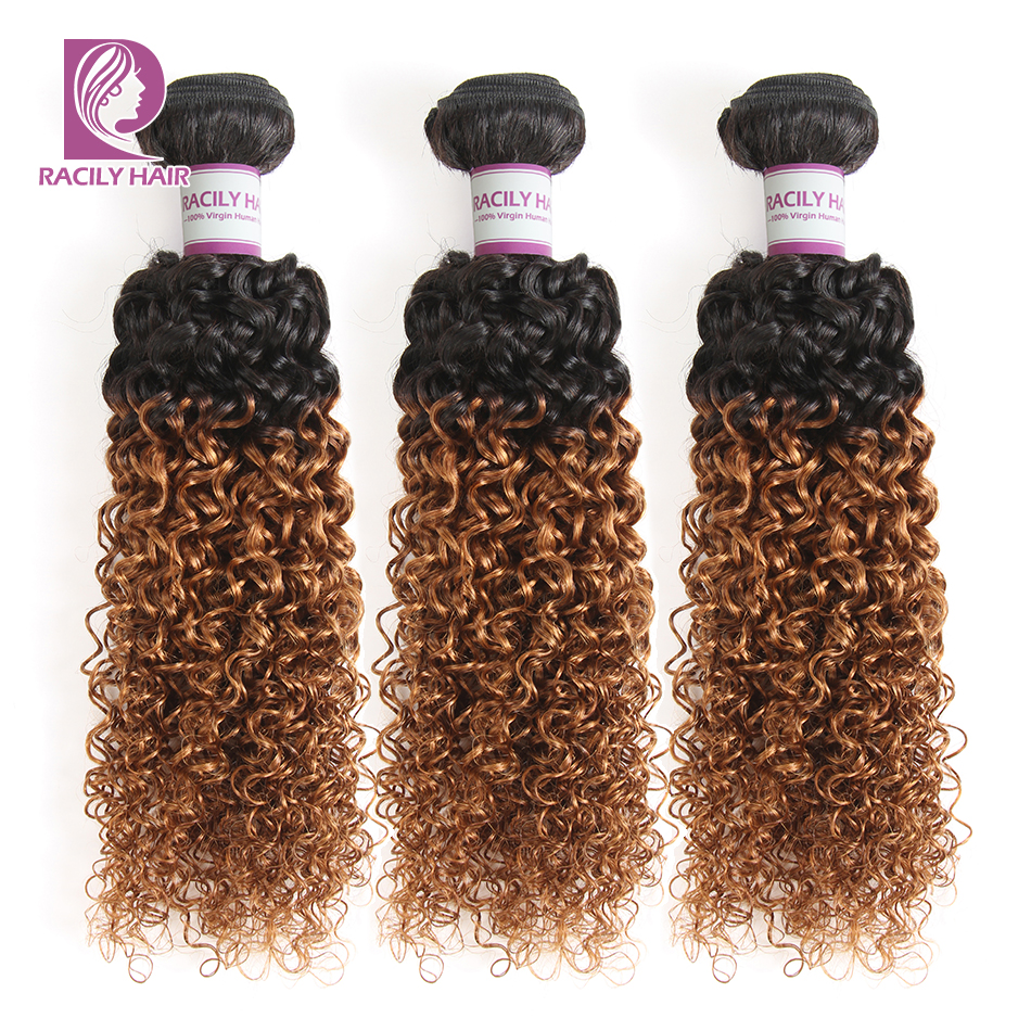 Racily Hair T1B/30 Ombre Peruvian Kinky Curly Hair Brown Ombre 100% Human Hair Extensions 1/3/4 Bundles Remy Hair Weave Bundles