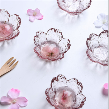 Блюдо из вишневого соуса, маленькая стеклянная тарелка в японском стиле с узором в виде головы молотка, Стеклянное блюдо для соуса с цветами...