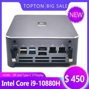 TOPTON New Arrival 10th Gen Intel Core Mini PC i9 10880H i7 10750H i5 10300H Windows 10 2*DDR4/M.2 DP HDMI 4K Computer HTPC NUC