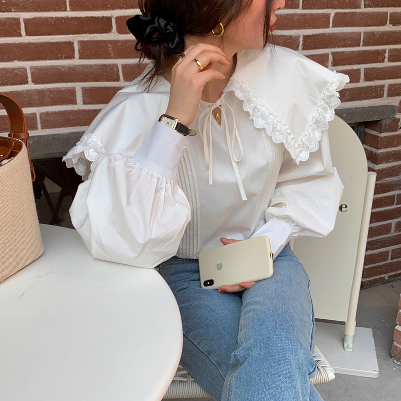 Hed01c913516f477fbb3726f43fc0b6f4h - Spring / Autumn Lace-Up Collar Long Sleeves Loose pleated Solid Blouse