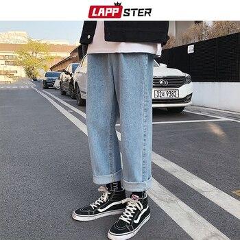 LAPPSTER Men Loose Baggy Blue Jeans 2020 Mens Casual Korean Fashions Harem Pants Male Oversized Black High Waisted Denim Pants