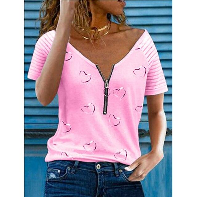 Женская футболка с принтом V образным вырезом на молнии 5