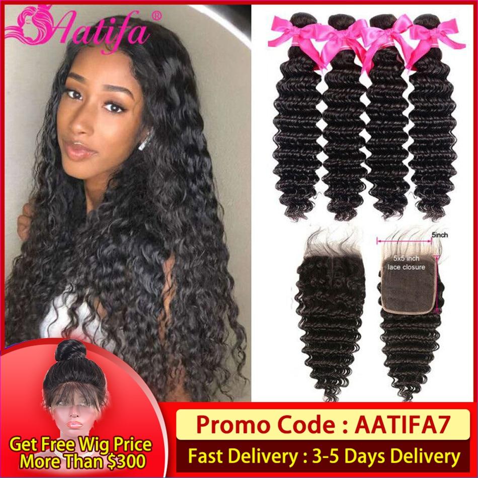 Brazilian Deep Wave Bundles With Closure 3 Bundles With Closure 100% Human Hair Bundles With Closure Remy Hair Extension Aatifa