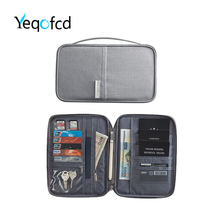 Yeqofcd Travel Passport Bag Dustproof Waterproof Women Men Credit Card Holder Wallet Oxford Document Pack Organizer Zipper Purse