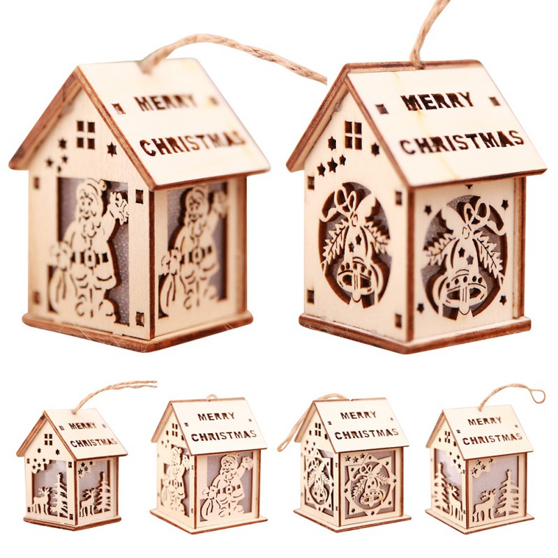 Luminous Christmas Tree Hanging Ornaments 7-Colors LED Wooden House With Rope For Indoor Holiday Party Decor