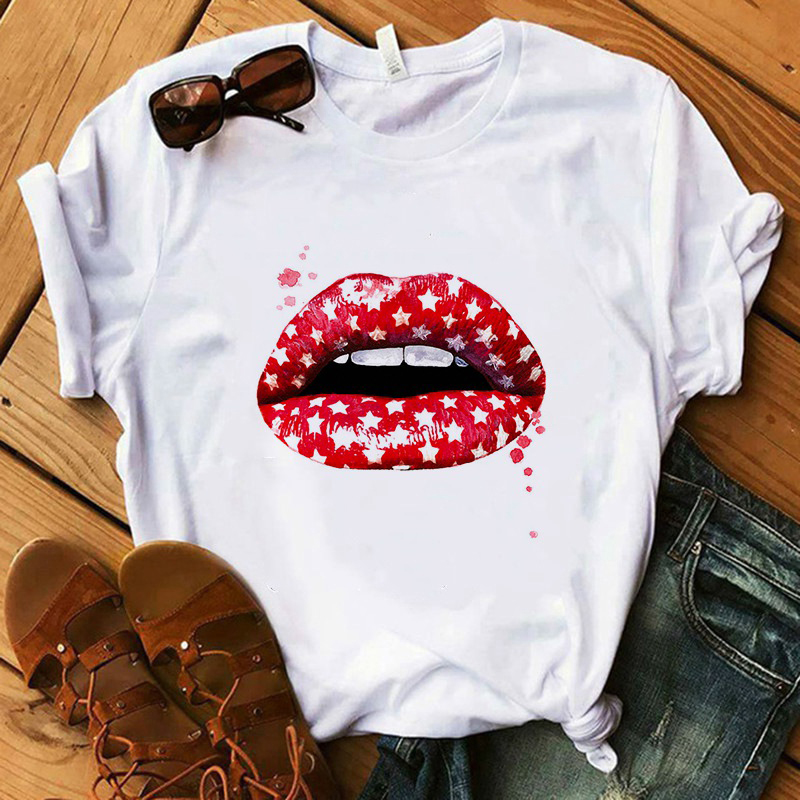 New 2020 Women Top Red Mouth Lip Love Print T Shirts Base O-Neck Short Sleeve Women Tshirt All-match White Tee Funny Girls Shirt