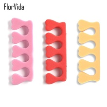 FlorVida 1 Pair Soft Sponge Toe Separator 5 Colors Nail Art Tool Separate Manicure Accessories