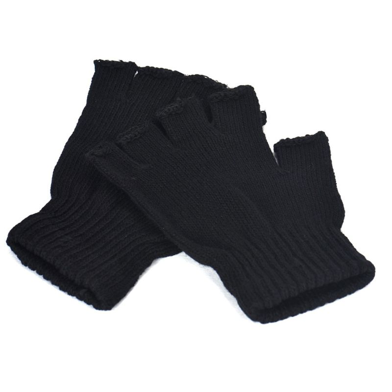 Women Men Unisex Black Half Finger Gloves Ribbed Knit Stretch Fingerless Mittens