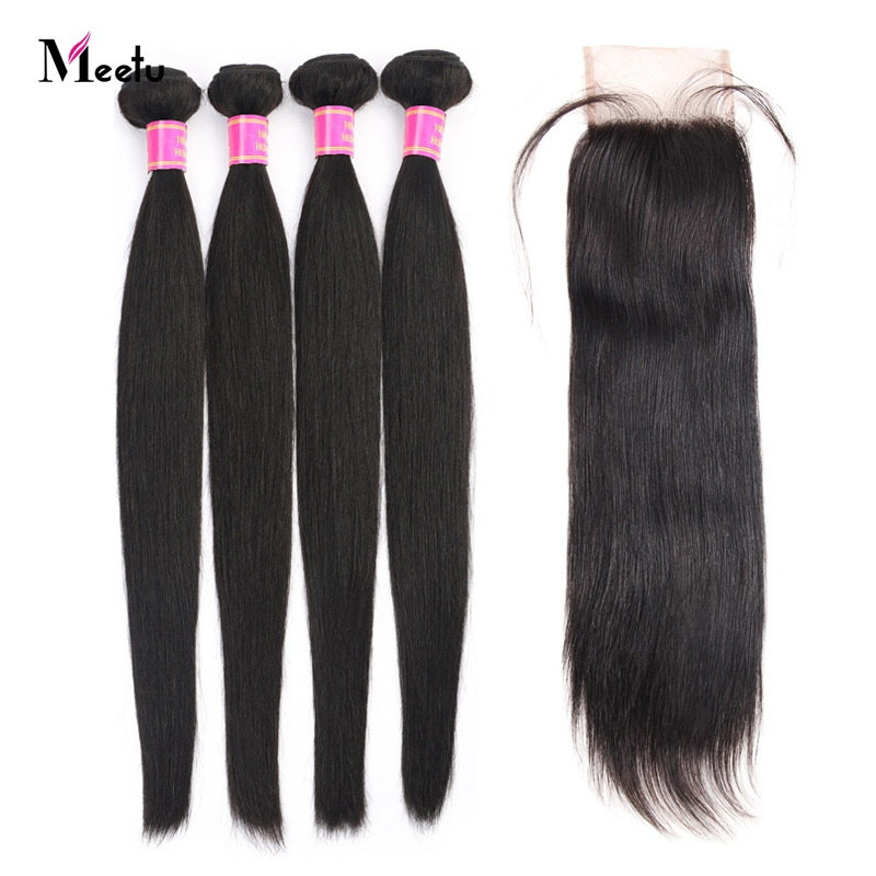 Meetu Brazilian Straight Hair Bundles With Closure Human Hair Bundles With Closure Baby Hair 4 Bundles With Closure Non Remy
