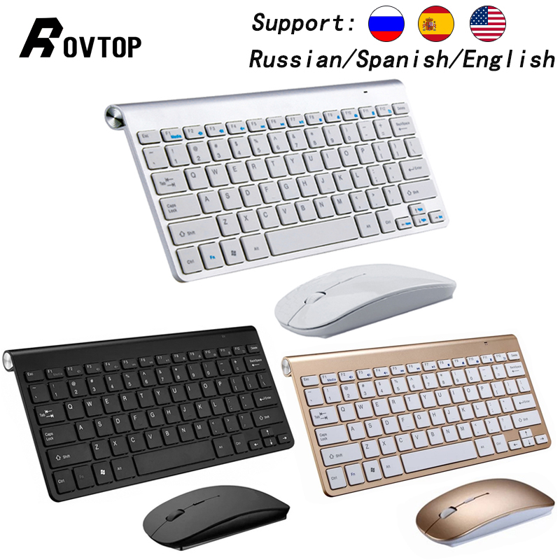 Slim Wireless 2.4GHz Mini Gaming Keyboard and Mouse Combo Set for iMac Laptop PC