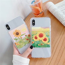 Fashion summer sunflower flower soft TPU phone case for iphone 7 6 6S 8 8PLUS X XS Max 11pro drop-proof shell