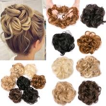 Синтетические гибкие волосы булочки Vurly резинка для волос шиньон эластичные грязные волнистые резинки для наращивания конского хвоста для женщин