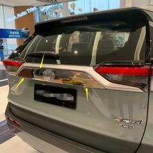 Lapetus Auto Styling Rear Trunk Door Upper Garnish Panel Cover Trim Fit For TOYOTA RAV4 RAV 4 2019 2020 Chrome Carbon Fiber ABS