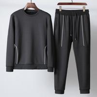 New Mens Sets (sweatshirt+pants) Luxury Add Velvet Solid Color Hooded Sweatshirts Men Autumn Winter Elastic Waist Man Pants