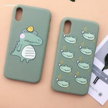 Fashion Peach Avocado Fruit Soft TPU Phone Case For iPhone Cartoon Cute Dinosaur Cover 5