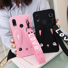 Adorable Phone Case For Xiaomi Redmi Note 7 MI 9 MI 9SE MI 8 Safe Silicone Rabbit Phone Case With Cute Short + Long Lanyard