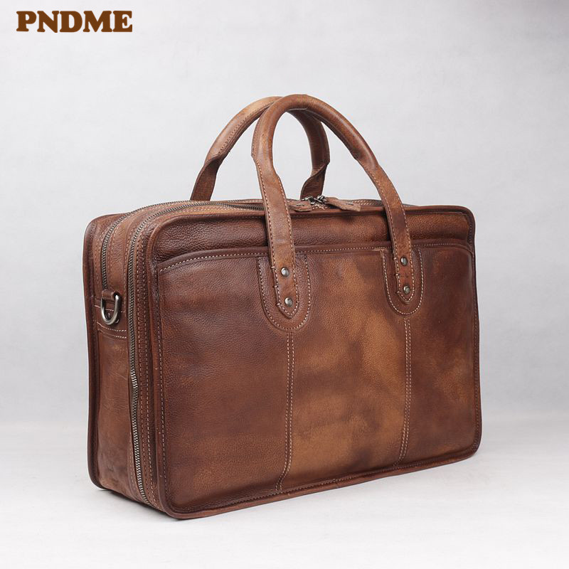 PNDME Vintage High Quality Large Capacity Genuine Leather Men's Briefcase Business Travel Luxury Cowhide Laptop Shoulder Bags