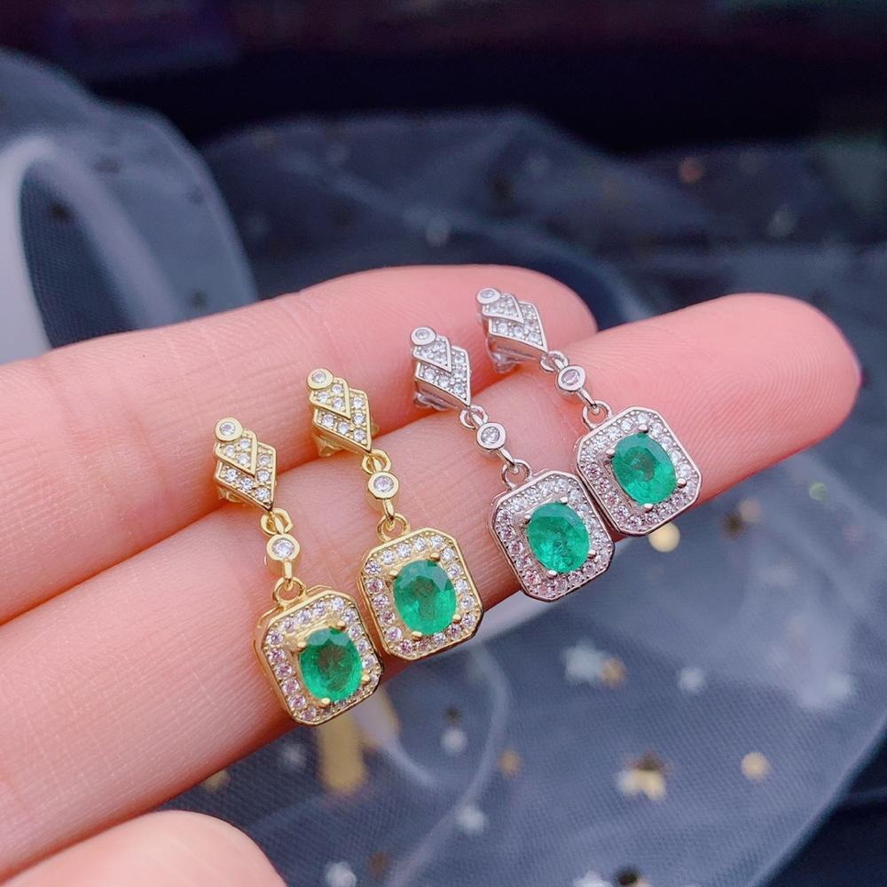 SHILOVEM 925 sterling silver real Natural Emerald stud earrings classic fine Jewelry new wedding gift  4*5mm  de0405999agml